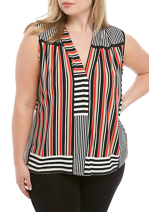 Plus Size Stripe V-Neck Cami
