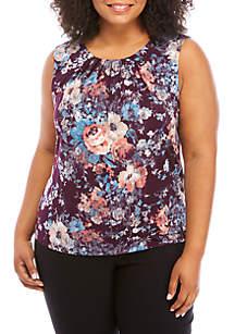 Calvin Klein Plus Size Floral Pleat Neck Cami