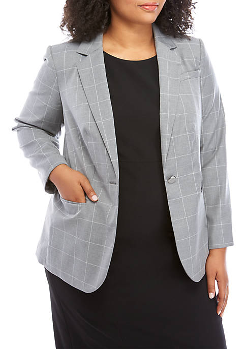 Plus Size Button Front Windowpane Jacket