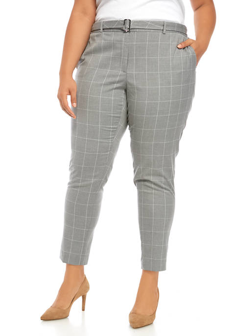 Calvin Klein Plus Size Belted Windowpane Trousers