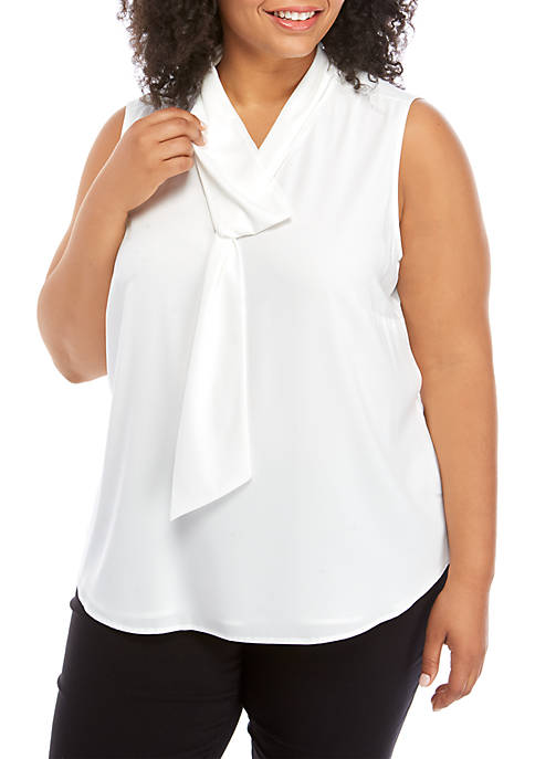 Calvin Klein Plus Size Sleeveless Tie Neck Blouse