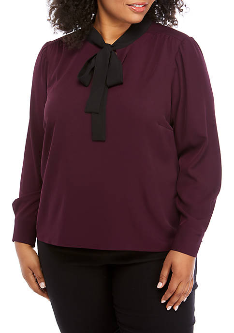 Calvin Klein Plus Size Long Sleeve Solid Tie