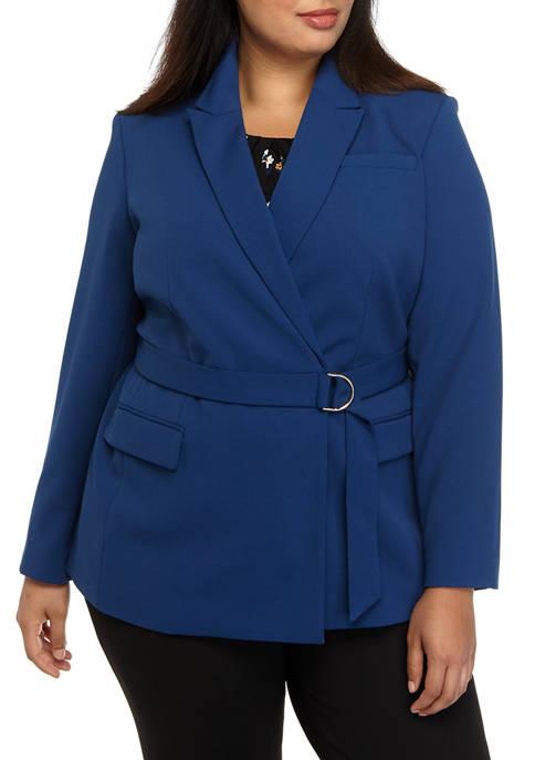 Calvin Klein Plus Size Button Front Knit Solid