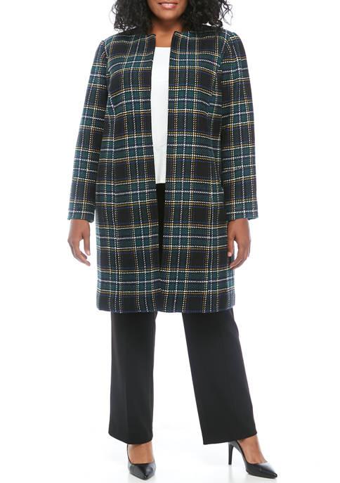 Calvin Klein Plus Size Open Plaid Topper