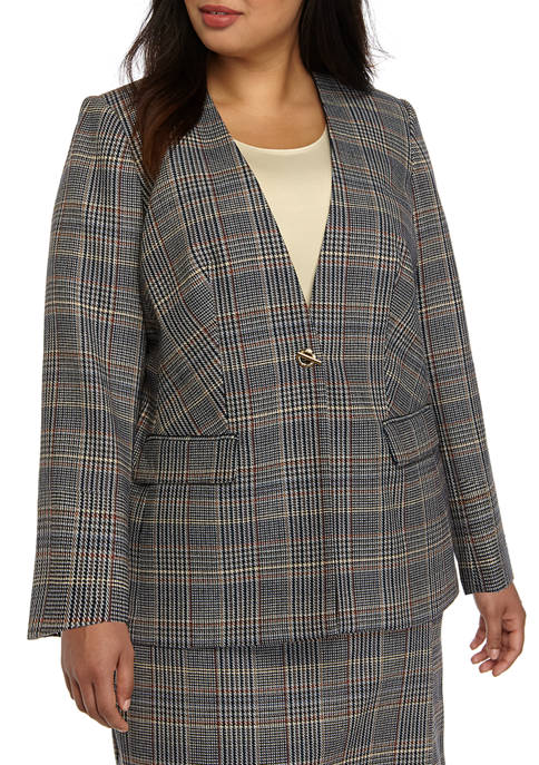 Calvin Klein Plus Size Button Front Plaid Jacket