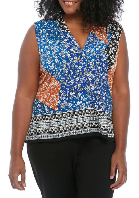 Calvin Klein Plus Size Sleeveless Patchwork Printed Camisole