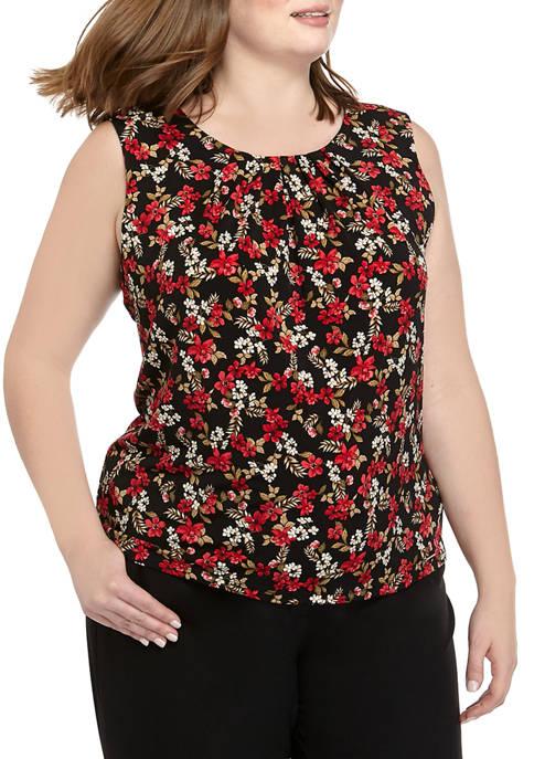 Calvin Klein Plus Size Sleeveless Floral Pleat Neck