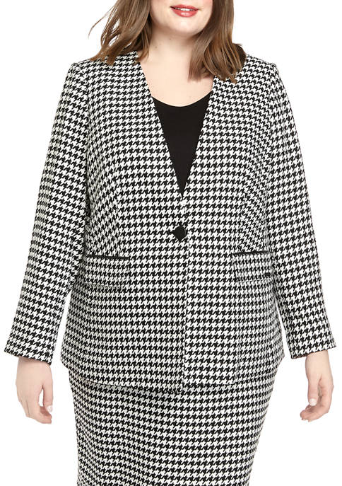 Plus Size Button Front Houndstooth Jacket