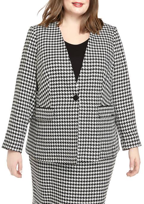 Calvin Klein Plus Size Button Front Houndstooth Jacket