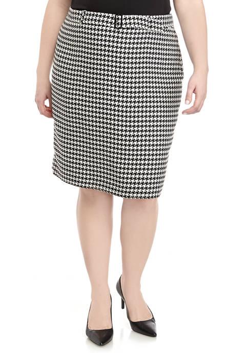 Calvin Klein Plus Size Tie Belt Houndstooth Skirt