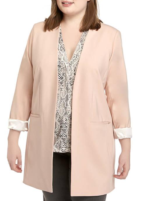Calvin Klein Plus Size Long Open Front Jacket