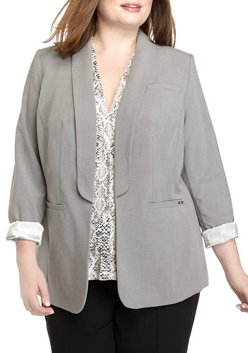 Calvin Klein Plus Size Open Jacket with Rolled