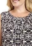 Plus Size Sleeveless Print Pleat Neck Top