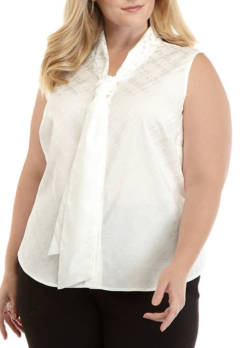 Calvin Klein Plus Size Sleeveless Tie Neck Woven