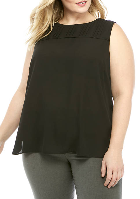 Calvin Klein Plus Size Sleeveless Woven Blouse with