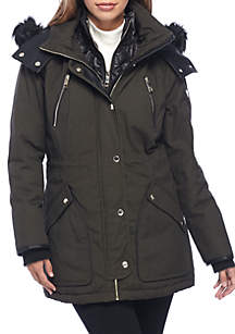 Washed Cotton Anorak with Fur Hood