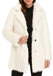 Faux Fur Jacket with Gold Hardware