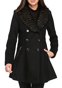 Mid Length Coat with Boucle Fur
