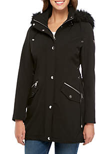 Soft Shell Jacket with Lace Up Side and Fur Hood