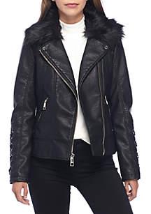 Moto Jacket with Fur Hood