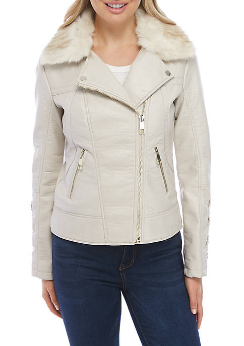 GUESS® Moto Jacket with Fur Hood