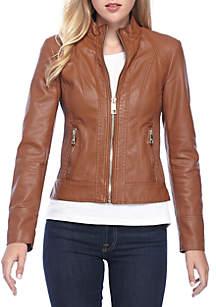 Sketch Faux Leather Moto Jacket