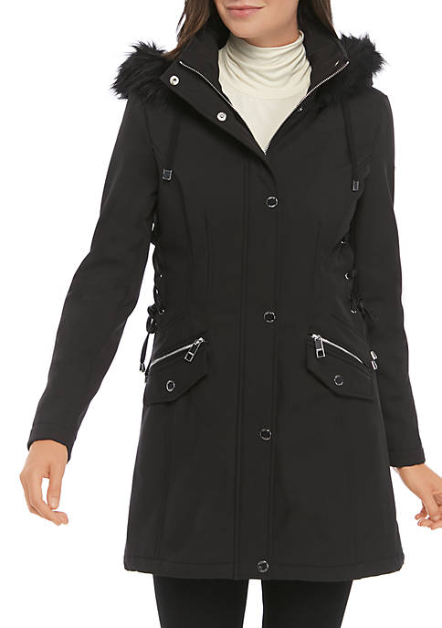 Softshell Jacket with Faux Fur Hood