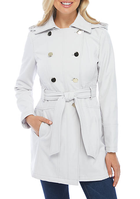 Belted Hooded Softshell Coat