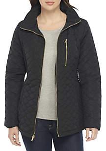 Zip-Front Quilted Coat