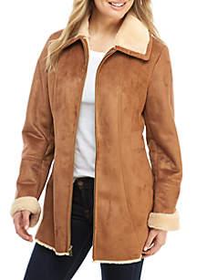Zip-Front Faux Shearling Coat