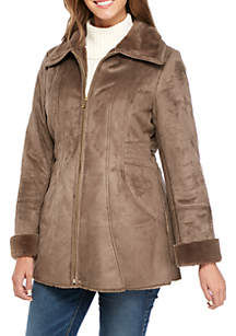 Zip-Front Faux Shearling Coat