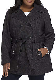 Plus Size Sweater Fleece Double Breasted Coat