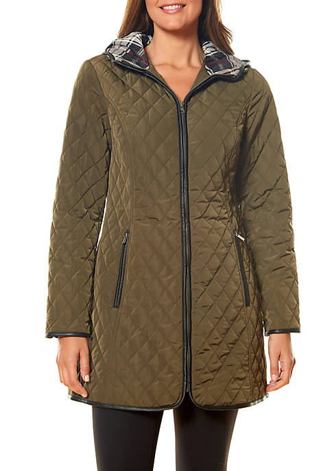 Quilted Coat with Plaid Trim