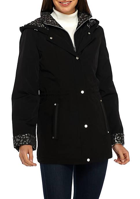 Light Lined Foil Print Anorak Jacket