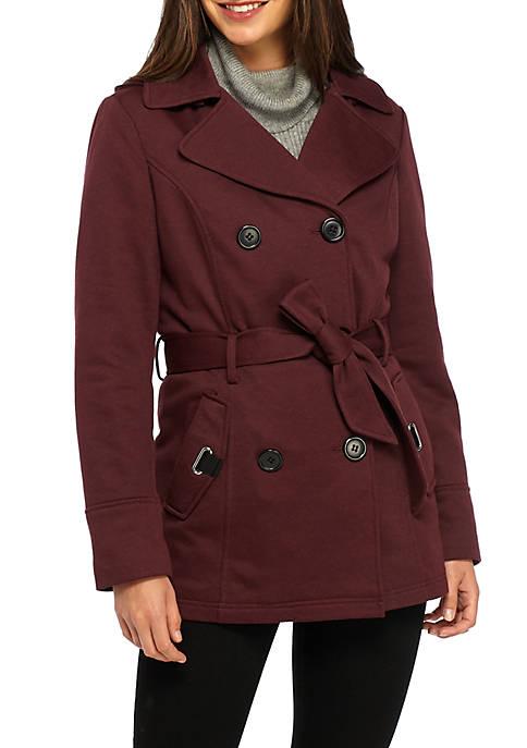 Jones New York Double Breasted Sweater Fleece Coat