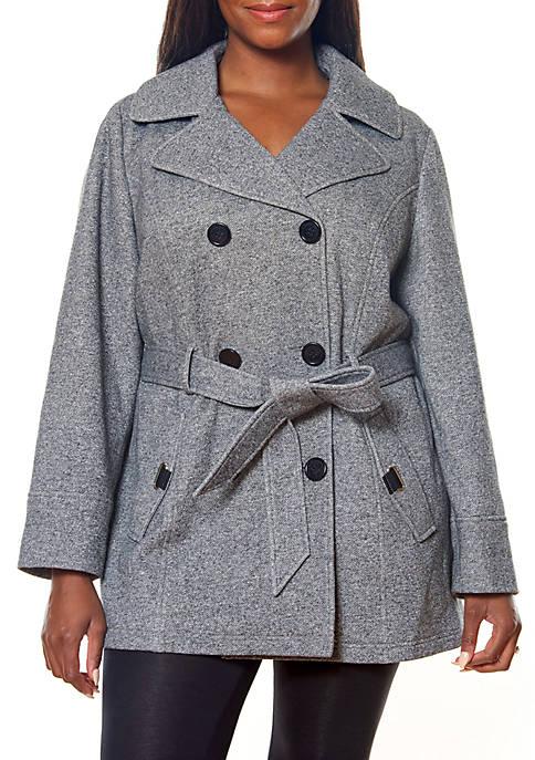 Jones New York Plus Size Double Breasted Fleece