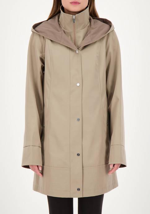 Jones New York Womens 2 Tone Rain Jacket