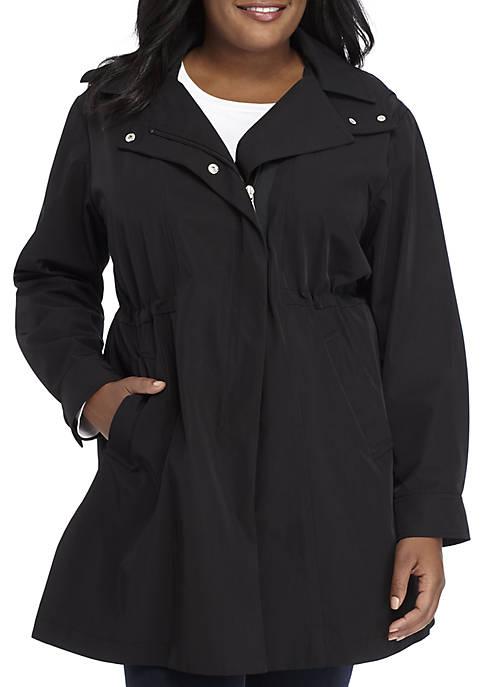 Plus Size Zip Front Rain Coat with Detached Hood