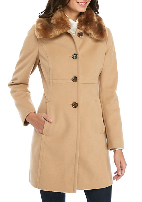 Womens Single Breasted Coat with Faux Fur Collar