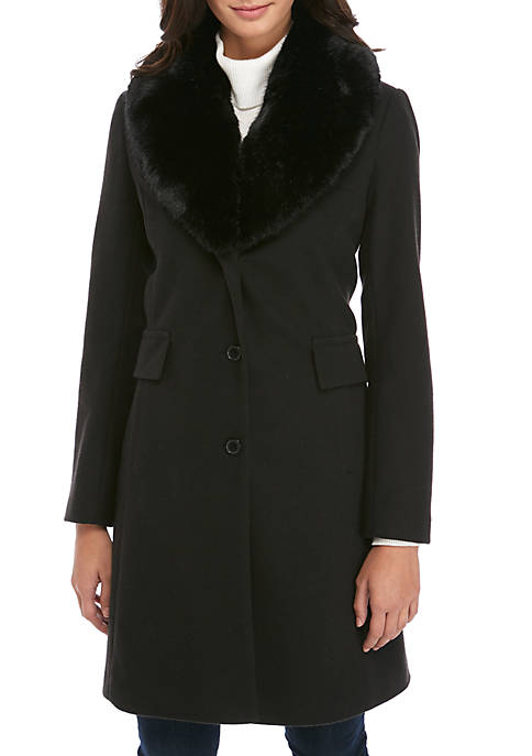 Womens SIngle Breasted Coat with Faux Fur