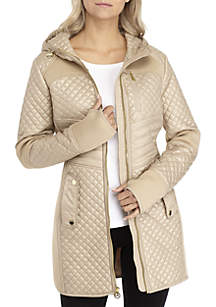 Long Active Quilt Jacket with Waist Detail