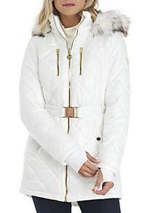 Belted Down Coat with Fur Trim Hood