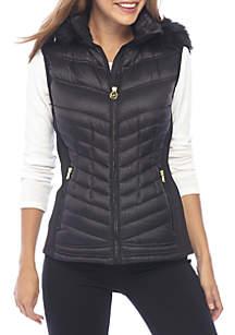 Vest with Fur Trim Hood
