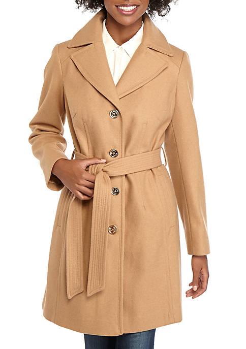 MICHAEL Michael Kors Womens Button Front Wool Coat