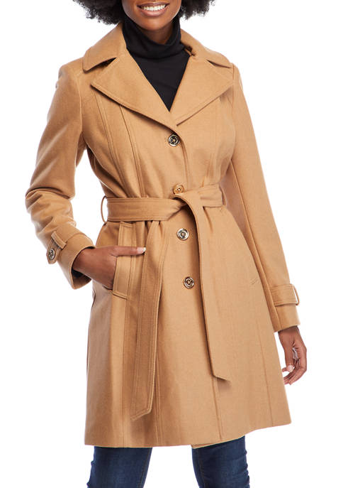 MICHAEL Michael Kors Womens Belted Button Front Jacket