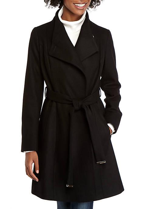 MICHAEL Michael Kors Womens Asymmetrical Wool Coat