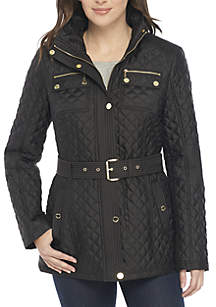 Belted Short Quilt Jacket