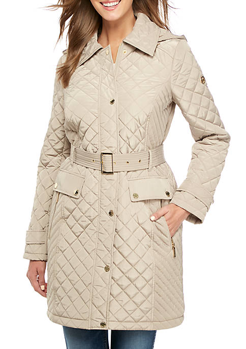 MICHAEL Michael Kors Long Quilted Jacket with Belted