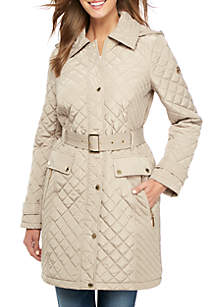 Long Quilted Jacket with Belted Button Front