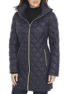 Long Packable Down Jacket with Zip Front and Hood